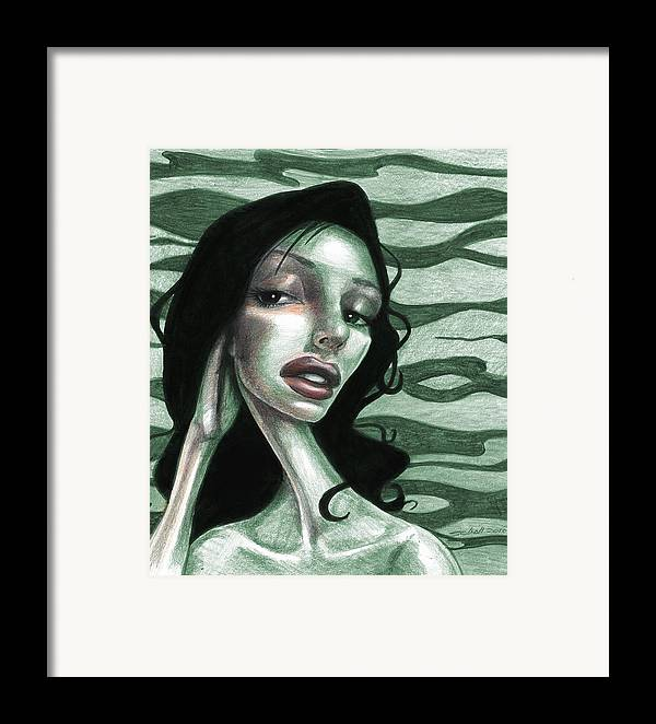 Woman Framed Print featuring the drawing Not Thinking About You by Michael Scholl