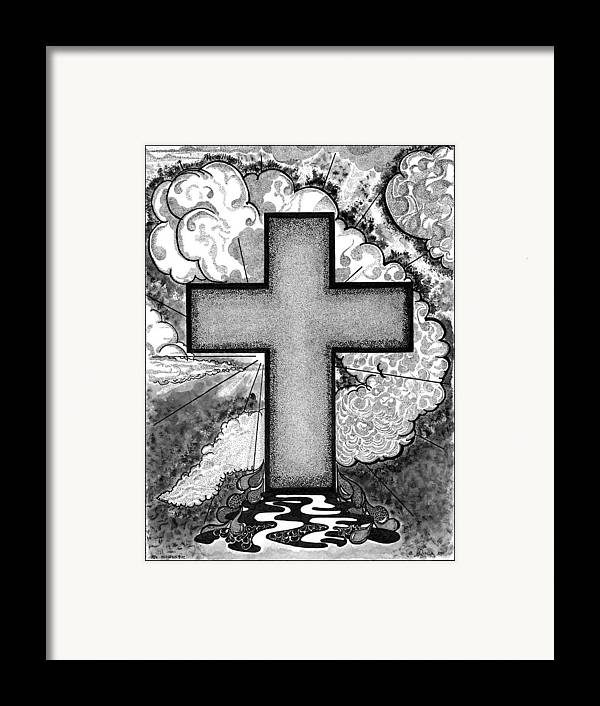 Christian Framed Print featuring the drawing Nothing But The Blood by Glenn McCarthy Art and Photography