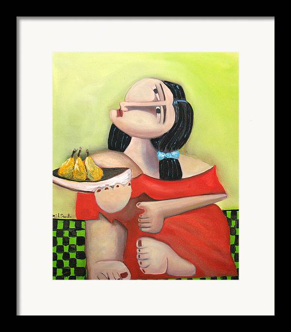 Cubist Cubism Pears Fruit Feet Girl Green Lime Figurative Framed Print featuring the painting Nouna by Niki Sands