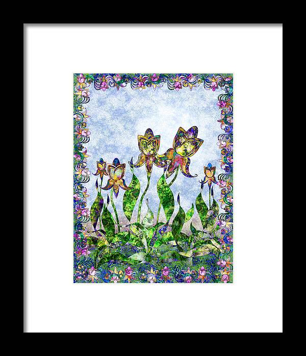 Iris Framed Print featuring the digital art Nouveau 3 by Gae Helton
