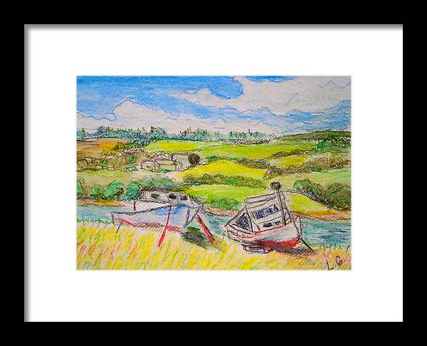 Fishing Boats Framed Print featuring the drawing Nova Scotia Fishing Boats by Lessandra Grimley