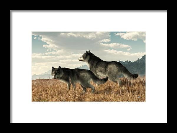November Wolves Framed Print featuring the digital art November Wolves by Daniel Eskridge