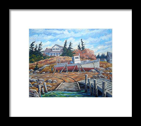 Boat Framed Print featuring the painting Novia Scotia by Richard T Pranke