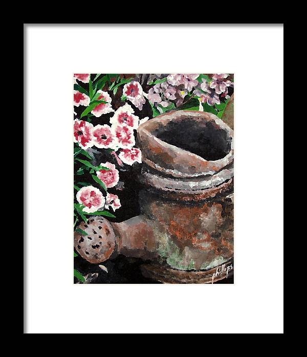 Flowers Framed Print featuring the painting Now Its Yard Art by Jim Phillips