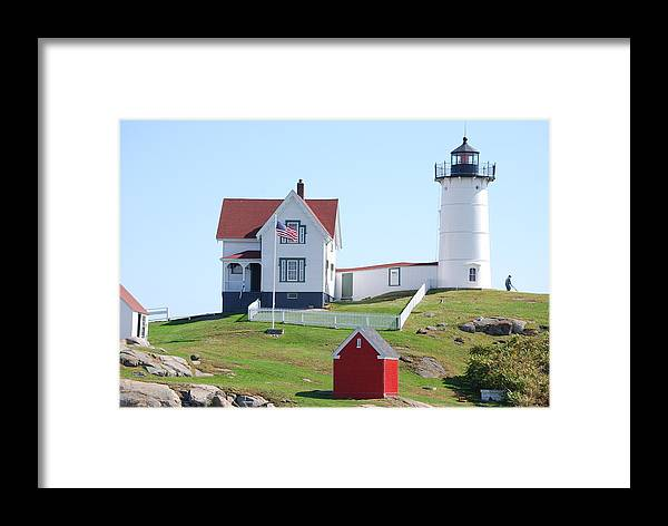 Maine Lighthouse Framed Print featuring the photograph Nubble Light House by Armand Hebert