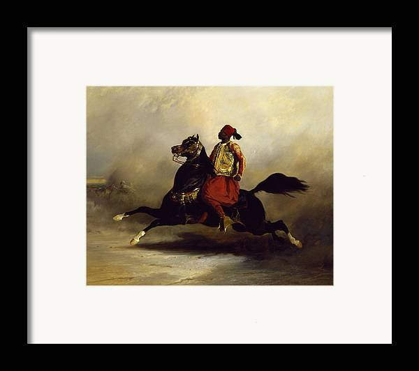 Nubian Framed Print featuring the painting Nubian Horseman At The Gallop by Alfred Dedreux or de Dreux