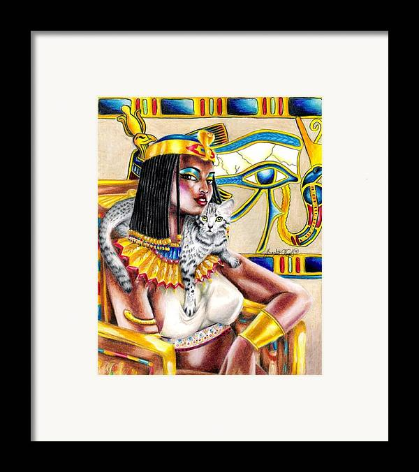 Egyptian Mau Framed Print featuring the drawing Nubian Queen by Scarlett Royal