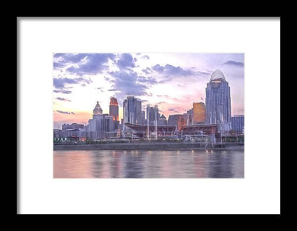 Cincinnati City Scenes Framed Print featuring the photograph Nubian Skyline Impression by Jim Simpson
