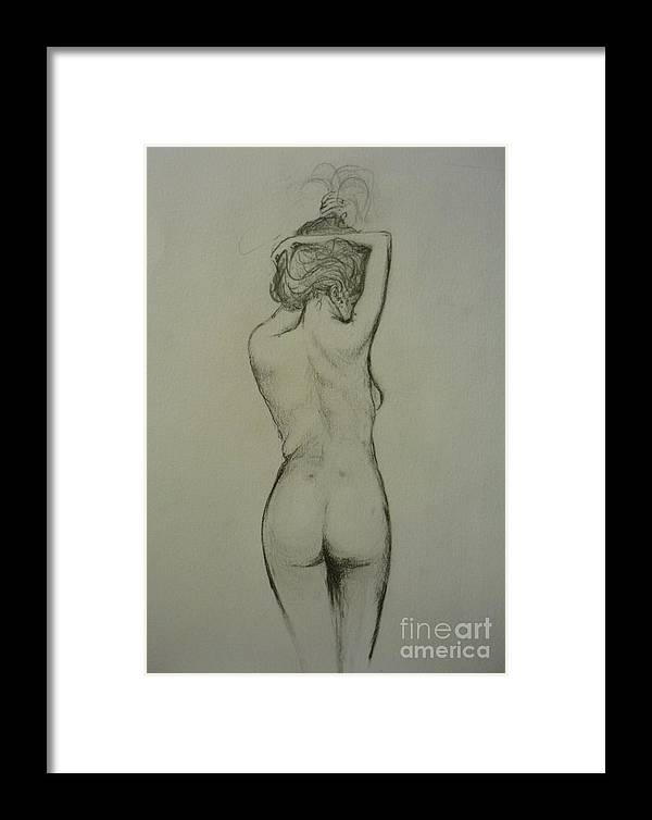 Female Framed Print featuring the painting Nude 1 by Lizzy Forrester