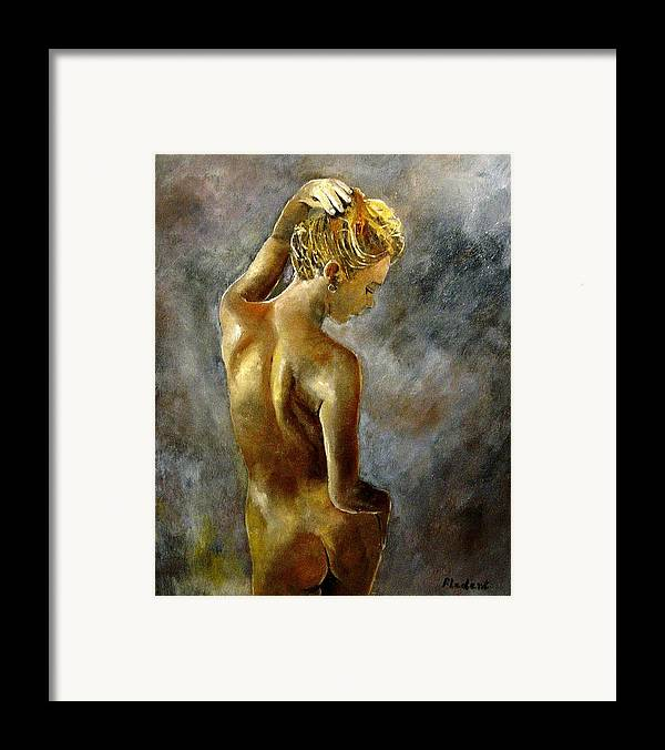 Girl Nude Framed Print featuring the painting Nude 27 by Pol Ledent