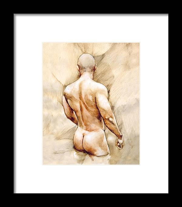 Man Framed Print featuring the painting Nude 40 by Chris Lopez