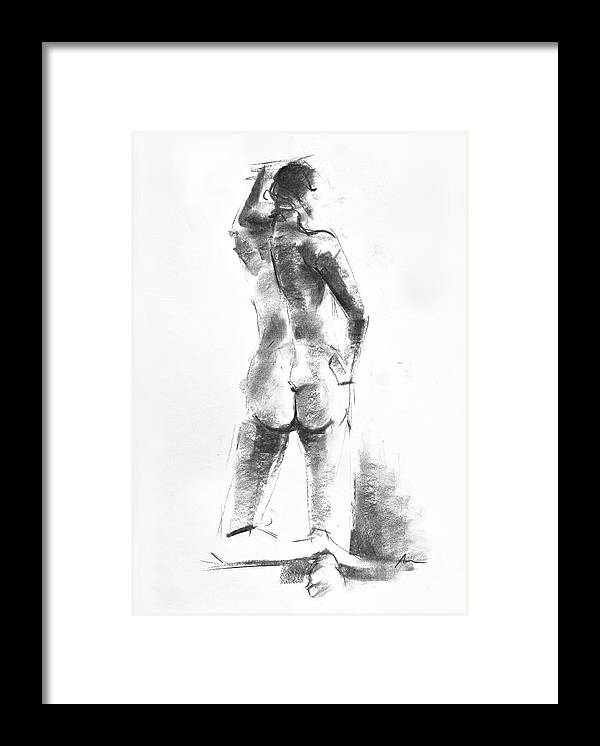 Nude Framed Print featuring the drawing Nude 44 by Ani Gallery