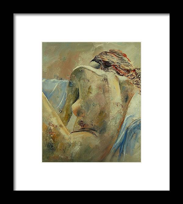 Framed Print featuring the painting Nude 56905092 by Pol Ledent