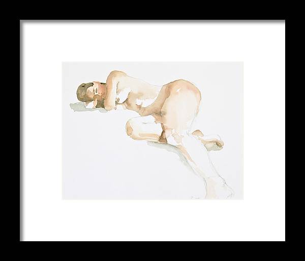Nude Woman Framed Print featuring the painting Nude by Eugenia Picado