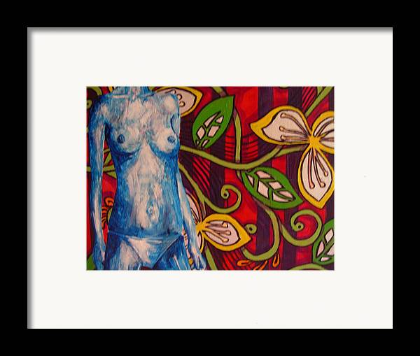Nude Framed Print featuring the painting Nude Flower by Lynne