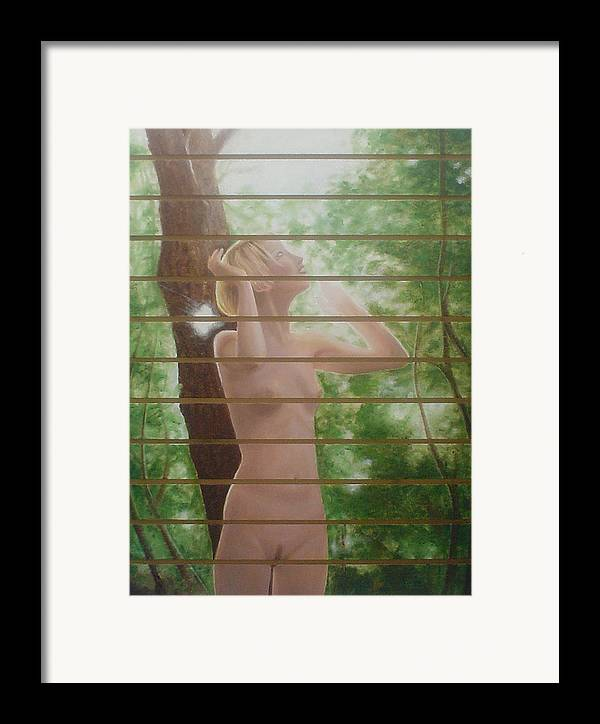 Realistic Framed Print featuring the painting Nude Forest by Angel Ortiz