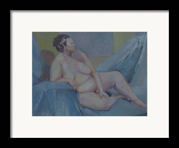 Tasteful Female Nude Framed Print featuring the painting Nude In Blue        Copyrighted by Kathleen Hoekstra