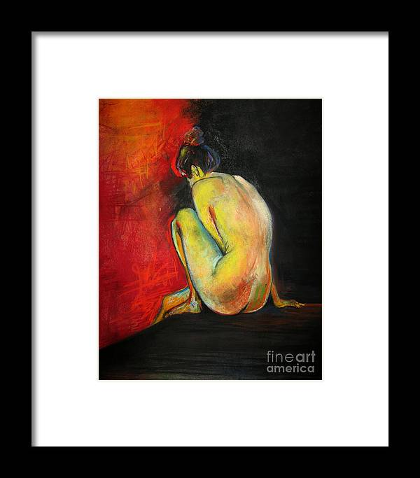 Nude Framed Print featuring the drawing Nude- Introspection by Yxia Olivares