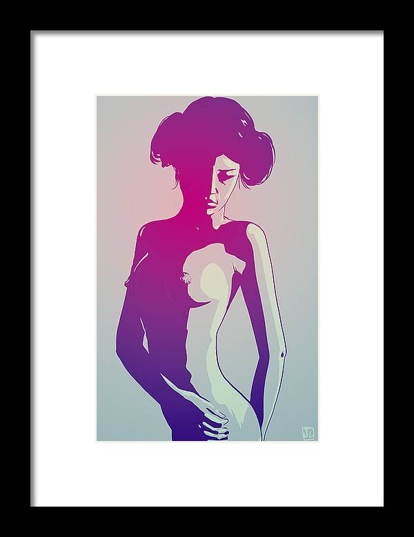 Star Wars Framed Print featuring the drawing Nude Princess Leia by Giuseppe Cristiano