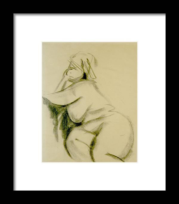 Charcoal Sketch Framed Print featuring the print Nude Study by Howard Stroman