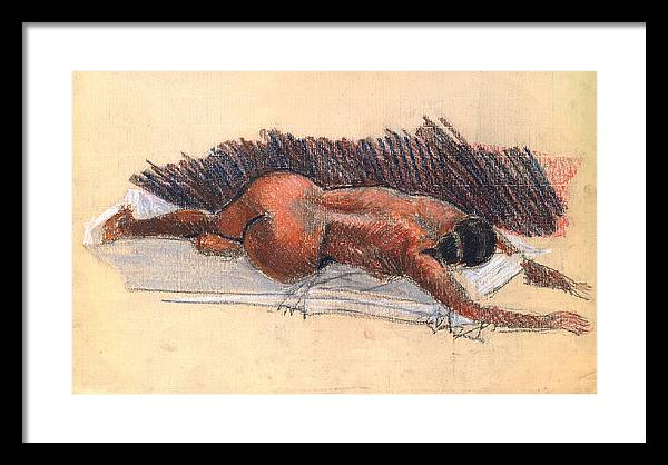 Woman Nude Life Drawing Pastel Paper Framed Print featuring the drawing Nude Woman 09 by Nelson Caramico