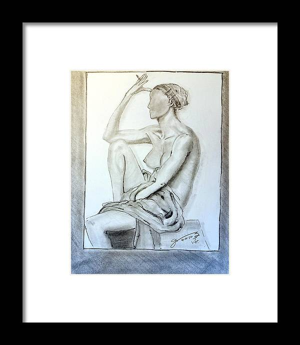 Nude Framed Print featuring the drawing Nude Woman Viii by Jose A Gonzalez Jr