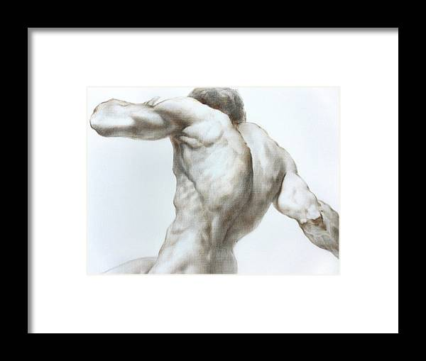 Man Framed Print featuring the painting Nude1c by Valeriy Mavlo