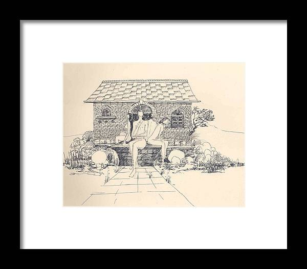 Nudes Framed Print featuring the drawing Nudes Some Rocks And A Cottage by Padamvir Singh