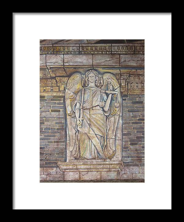 Relief Sculture Framed Print featuring the painting Nueces County Scales Of Justice by Diann Baggett