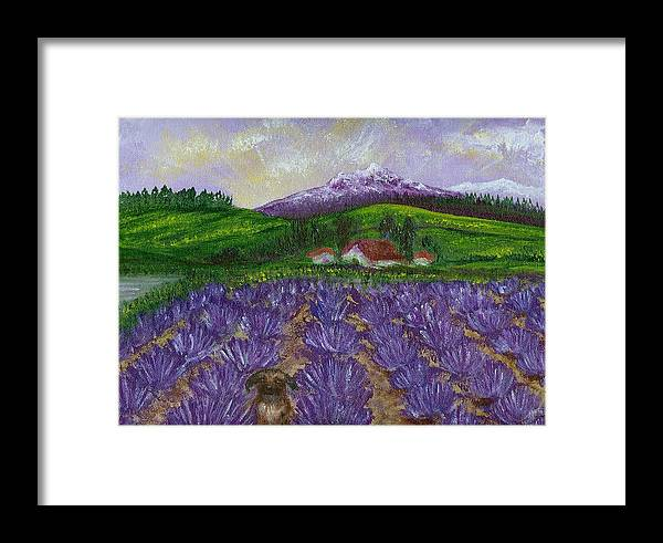 Sunrise Framed Print featuring the painting Nui In Lavender Field by Laura Johnson