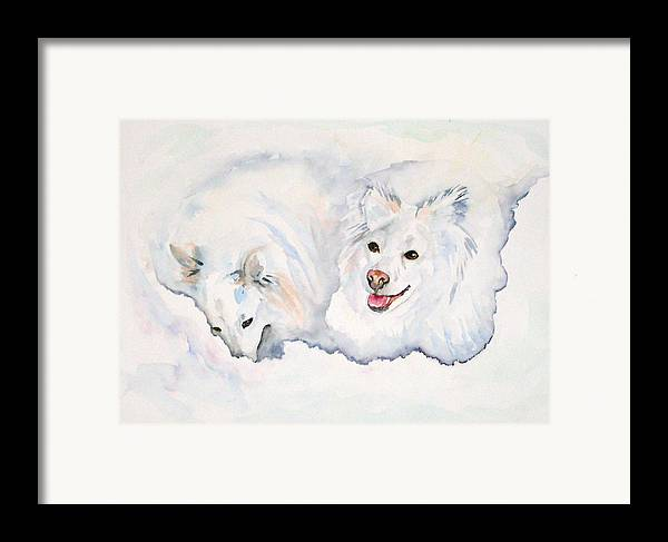 Canine Framed Print featuring the painting Numa And Amari by Gina Hall