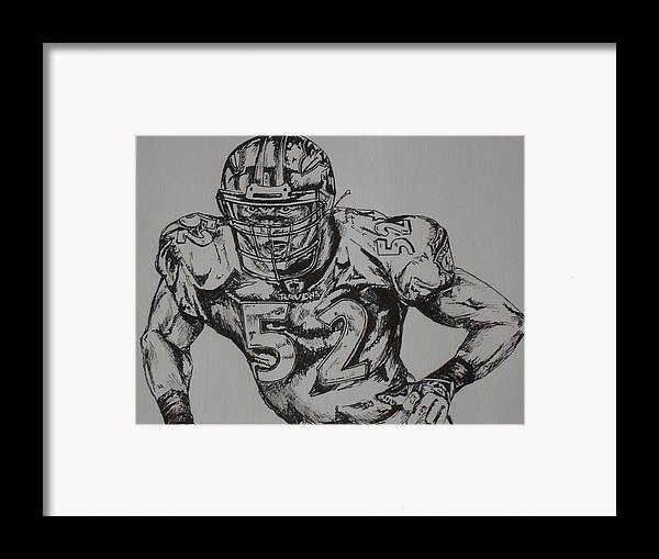 Sports Framed Print featuring the drawing Number 52 by Raymond Nash
