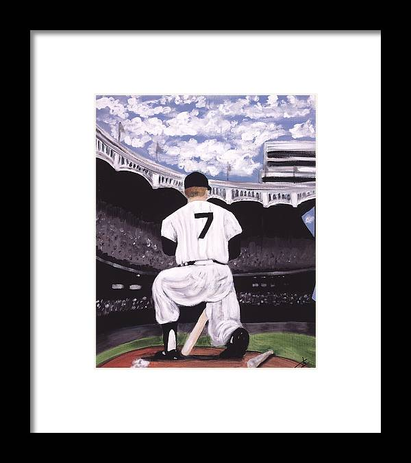 Baseball On Canvas Framed Print featuring the painting Number 7 by Jorge Delara