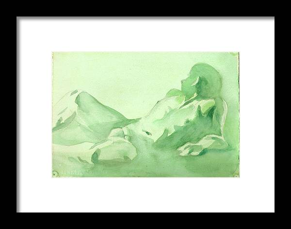 Nude Male Reclining Framed Print featuring the painting Number 88  Figure Of The Artist by Ken Daugherty