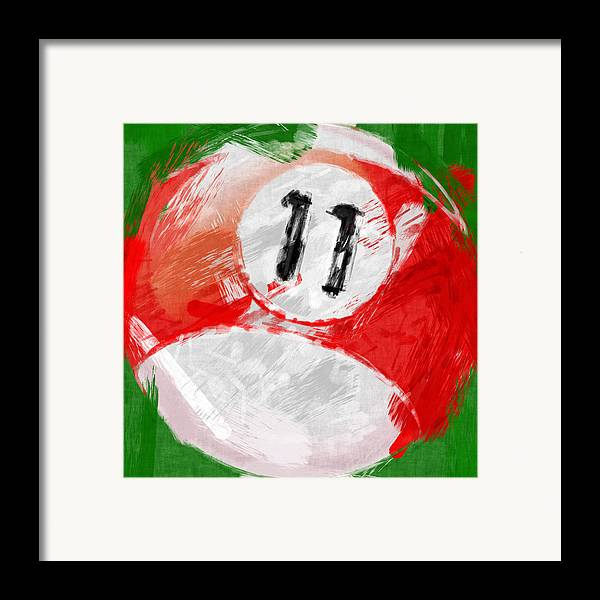 Eleven Framed Print featuring the photograph Number Eleven Billiards Ball Abstract by David G Paul
