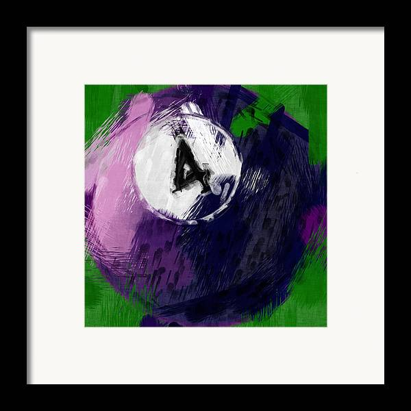 Four Framed Print featuring the photograph Number Four Billiards Ball Abstract by David G Paul