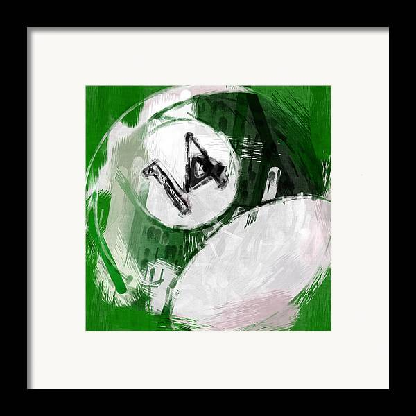 14 Framed Print featuring the photograph Number Fourteen Billiards Ball Abstract by David G Paul