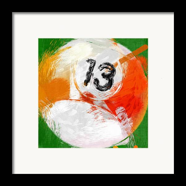 13 Framed Print featuring the photograph Number Thirteen Billiards Ball Abstract by David G Paul