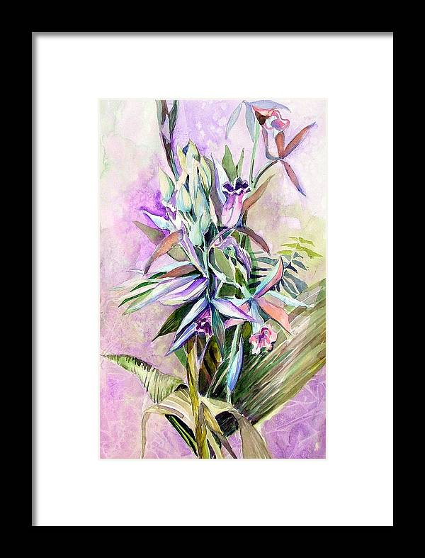 Orchid Framed Print featuring the painting Nun's Hood by Mindy Newman