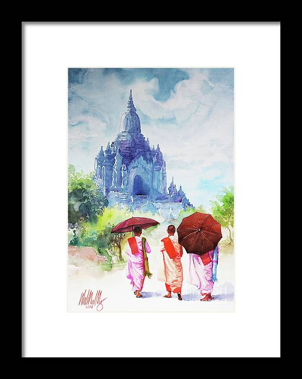 Landscape Framed Print featuring the painting Nuns by Win Min Mg