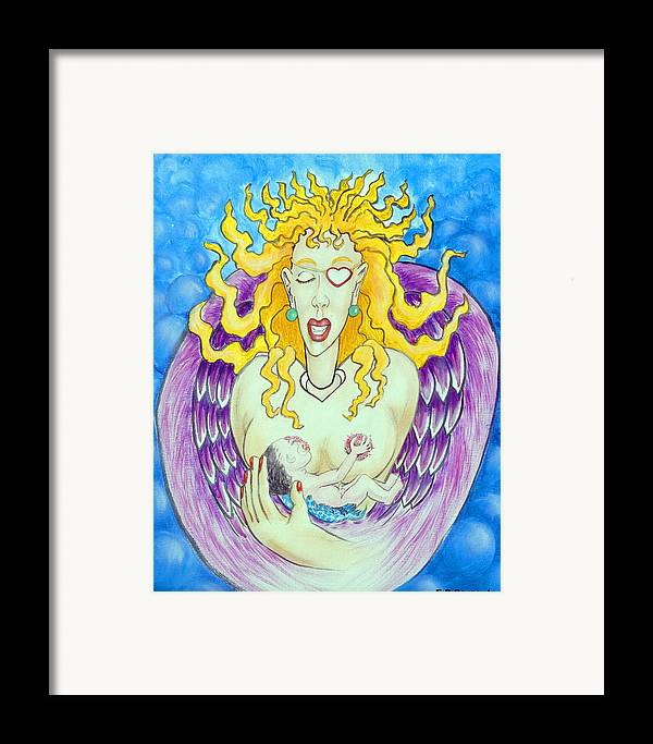 Heart Framed Print featuring the painting Nursing Angel by Eddie Sargent