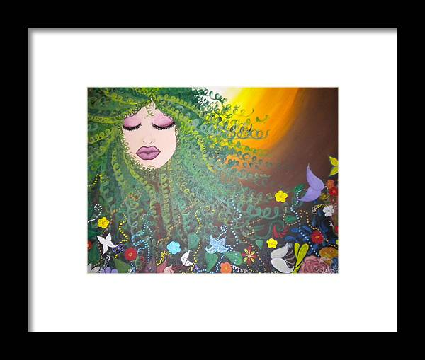Face Framed Print featuring the painting Nurture by Hollie Leffel