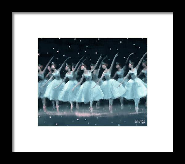 Ballet Framed Print featuring the painting Nutcracker Ballet Waltz Of The Snowflakes by Beverly Brown