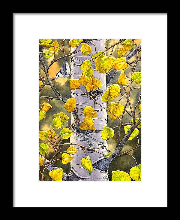 Nuthatch Framed Print featuring the painting Nuthatches by Catherine G McElroy