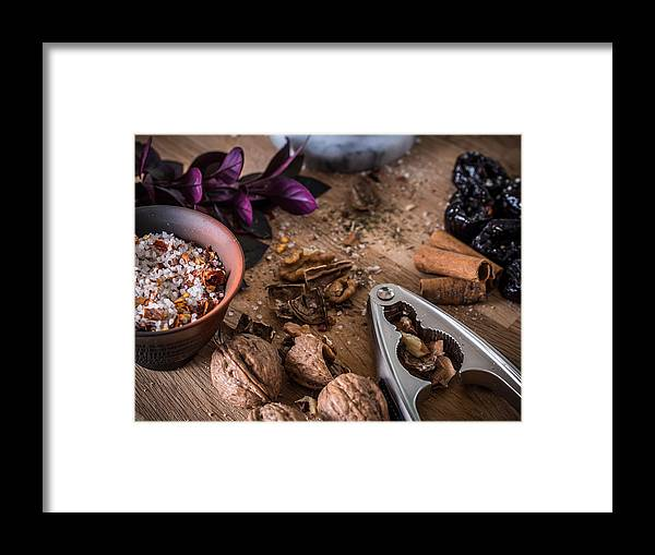Food Framed Print featuring the photograph Nuts And Spices Series - Three Of Six by Kaleidoscopik Photography