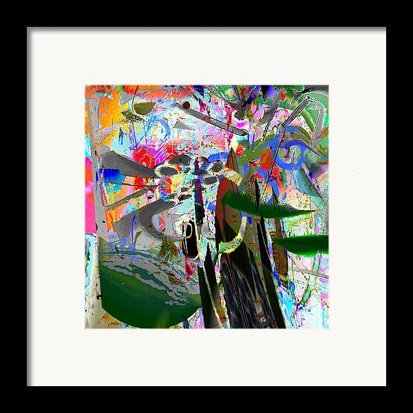 Abstract Red Blue Yellow Purple Framed Print featuring the digital art Nuts by Dave Kwinter