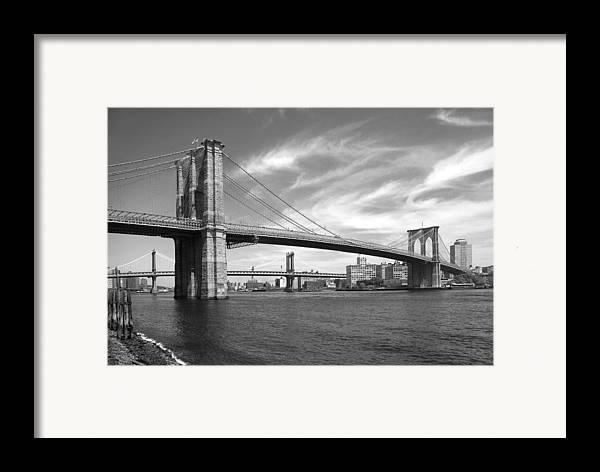 Bridge Framed Print featuring the photograph Nyc Brooklyn Bridge by Mike McGlothlen