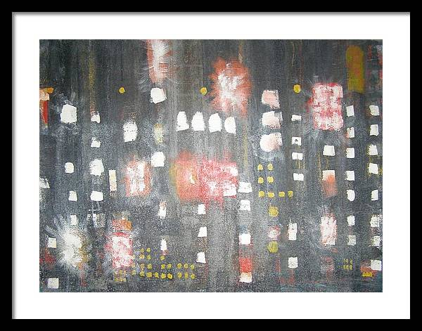 Abstract Framed Print featuring the painting Nyc In The Rain by Don Phillips