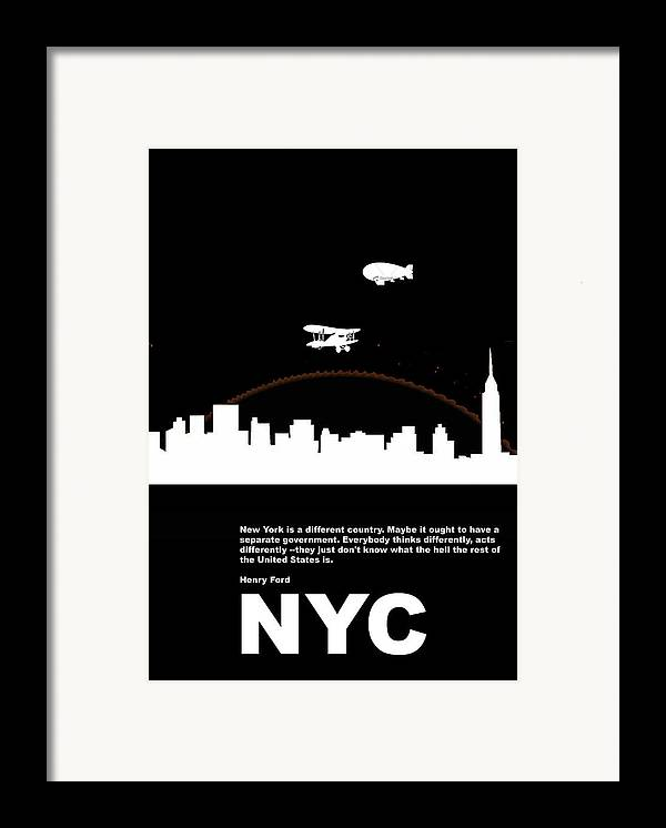 New York Framed Print featuring the photograph Nyc Night Poster by Naxart Studio