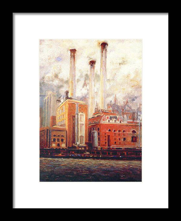 East River Framed Print featuring the painting Nyc- View From East River by Walter Casaravilla